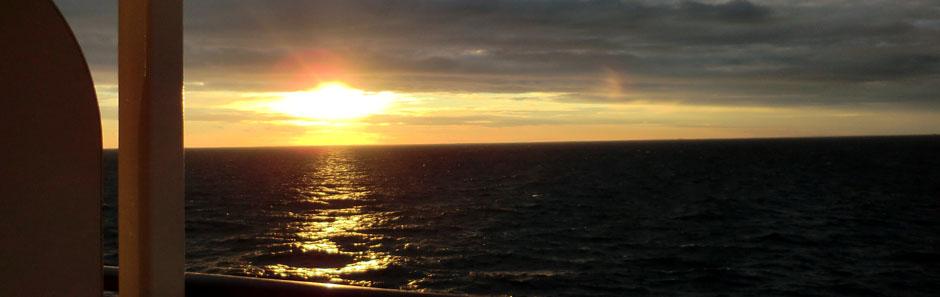 Sonnenuntergang auf unserer Nordkap-Reise